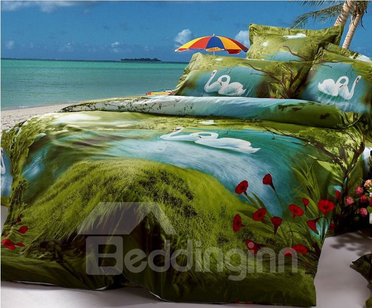 Amazing Green Swan Lake Paint Print With Red Flowers Bedding Sets