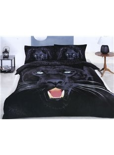 4 Piece Black Panther Print Bedding Sets Full Queen Size