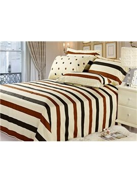 Elegant Brown Black Striped and Dot Beige 4 Piece King  Bedding Sets with Sets