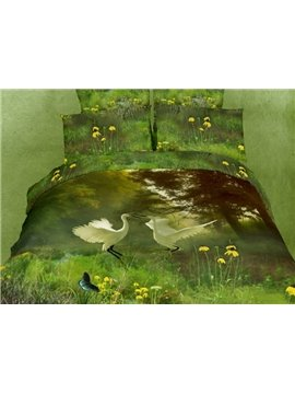 Visual Flying Egret Grass Cotton 4 Piece Active Printing Bedding Sets