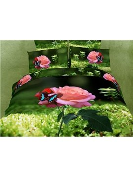Visual Grass Pink Flower and Blue Butterfly 4 Piece Cotton Bedding Sets