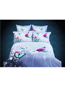Fantastic 4 Piece Butterfly Active Printing Whole Cotton Comforter Bedding Sets