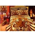 Top Grade 4 Piece Fierce Tiger Print Cotton Duvet Cover Bedding Sets (10489894)