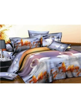 Fantastic 4 Piece Swan Printing Whole Cotton Duvet Cover Bedding Sets