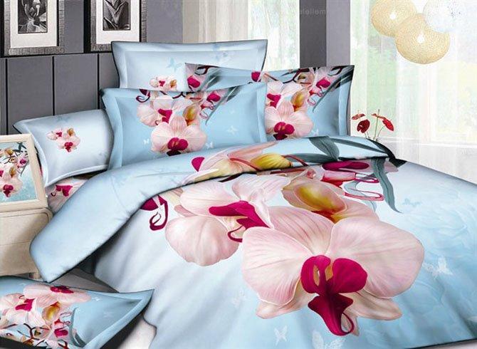 Fresh large flowers 4 Piece Cotton Bedding Sets of Princess