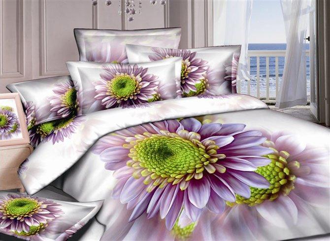 Graceful Purple Dasiy 3D Printed 4-Piece Cotton Duvet Cover Sets
