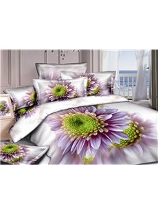 Graceful White 4 Piece Bedding Sets with Purple Flowers  (10489904)