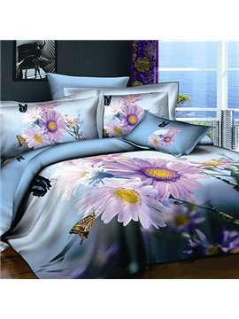 Visual Flowers and Butterflies Active Printing 4 Piece Cotton Bedding Sets