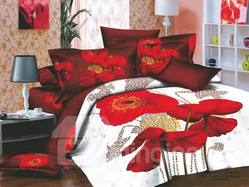 Seductive Red flowers Active Printing 4 Piece Cotton Bedding Sets (10489906)