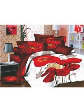 Seductive Red flowers Active Printing 4 Piece Cotton Bedding Sets
