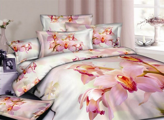 4 Piece Cotton Bedding Sets printting the Warm Large Flowers
