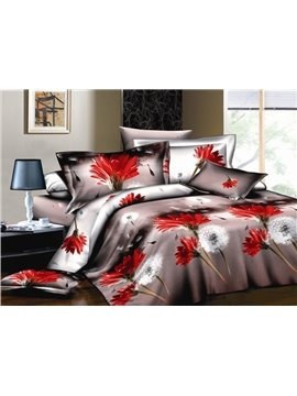 Light Coffee with Red flower and Dandelion 4 Piece Cotton Bedding Sets of Pincess