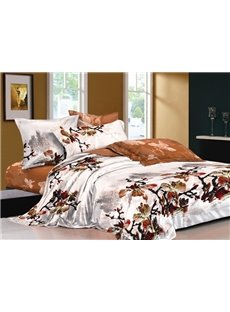 Chinese Ink and Wash Printed Brown 4 Piece Cotton Bedding Sets