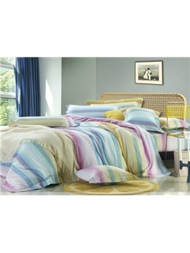 Colourful Stripe 4 Piece bedding Sets of 100% Cotton