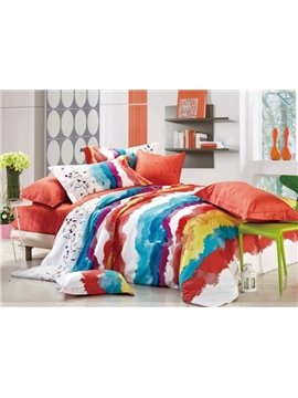 Magnificent Stripe of Active Printing 4 Piece Cotton Bedding Sets