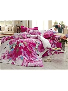 Modern Chinese Ink and Wash Printed 4 Piece Bedding Sets with Cotton