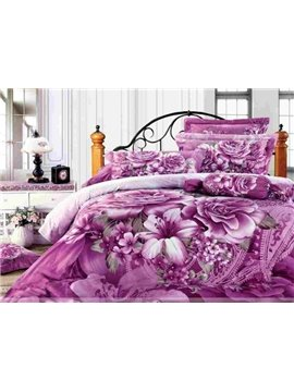 Sumptuous Lilies and Peonies Active Print 4 Piece Cotton Bedding Sets