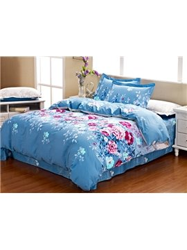 Attractive Bright Blue 4 Piece Cotton  Bedding Sets with Pink Flowers Printing
