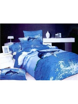 Strong and Vigorous Dolphin Printed 4 Piece Cotton Bedding Sets
