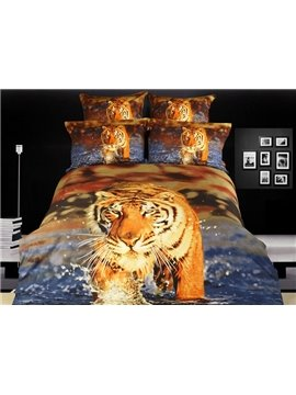 Powerful Tiger Walking in the Water Printed 4 Piece Cotton Bedding Sets