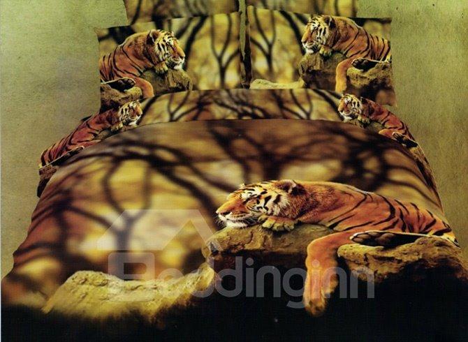 Docile Tiger 4-Piece Cotton Duvet Cover Sets