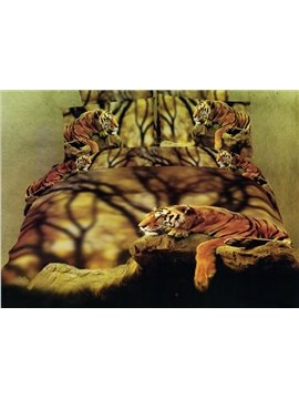 Docile Tiger 4 Piece Cotton Bedding Sets with Printing