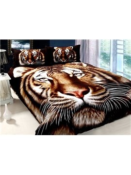 Realistic Tiger Pattern 4-Piece Cotton Bedding Sets with Active Printing