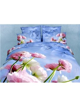 Vivid Blooming Flowers of Printed 4 Piece Cotton Bedding Sets