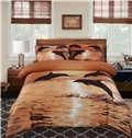 Strong and Vigorous Dolphin in the Setting Sun 4 Piece Cotton Bedding Sets (10489981)