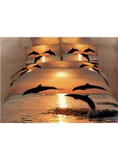 Strong and Vigorous Dolphin in the Setting Sun 4 Piece Cotton Bedding Sets 10489981