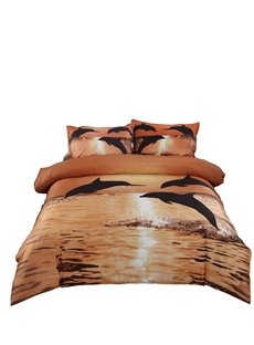 Strong and Vigorous Dolphin in the Setting Sun 4 Piece Cotton Bedding Sets