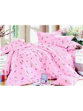 Princess Pink 4 Piece Vivid Florals Print Bedding Sets with Cotton