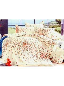 Graceful yellow 4 Piece Cotton Bedding Sets with Pink Florals Printing