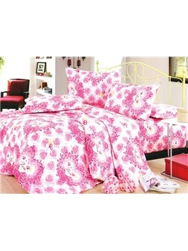 Romantic Pink Heart-shaped Rose Printed 4 Piece Cotton Bedding Sets