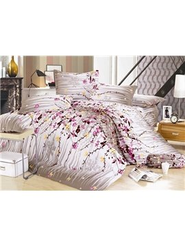 Rustic Florals and Wash Printed 4 Piece 100 Percent Cotton Bedding Sets