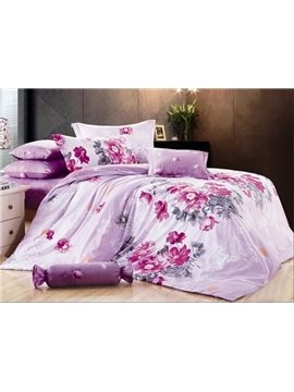 Wonderful Light Purple 4 Piece  Pink Flowers and Wash Print Bedding Sets with Cotton