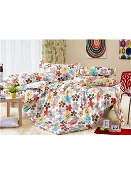 Cheap Colorful Flowers Printed 4 Piece Cotton Bedding Sets