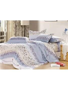 Princess Light Blue Stripes and Florals 4 Piece 100% Cotton Bedding Sets