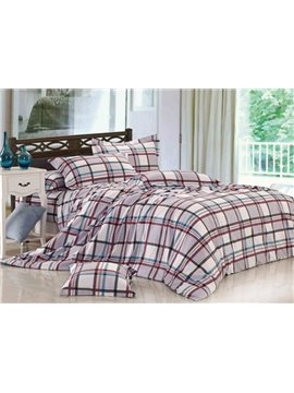 Wonderful Grey Checks and Stripes 4 Piece Cotton Bedding Sets with Printing
