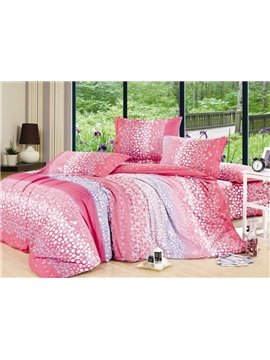 Super Cheap Pink 4 Piece Star Print 4 Piece Cotton Duvet Cover Sets