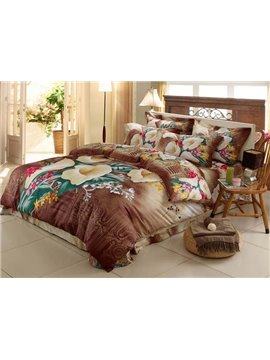 Beauty Retro Brown 4 Piece Cotton Bedding Sets with Florals Printing