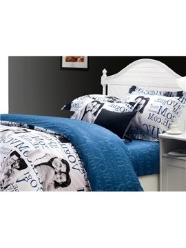 Fashion Blue Lover and Letters Printed 4 Piece Cotton Bedding Sets