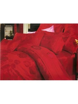 Cozy Red Flower 4 Piece Satin Drill Bedding Sets of Primaloft