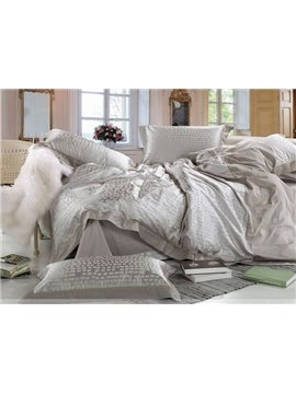 Forever 4 Piece Satin Bedding Sets with Grey Plaid Jacquard