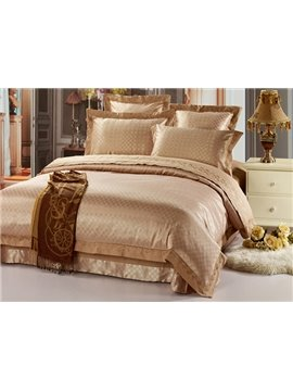 Exquisite and Soft Light Brown Check Jacquard 4 Piece Satin Bedding Sets (10490294)