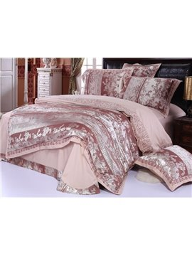 Cities Style Bright Brown 4 Piece Embroidery Satin Bedding Sets with Jacquard