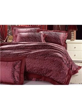 Patrician Deep Red Jacquard 4 Piece Saint Bedding Sets with Embroidery