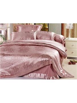 Shining and Warm Deep Pink 4 Piece Satin Comforter Sets with Jacquard