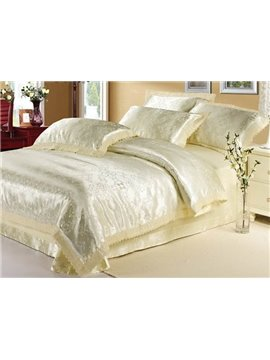 Courtlike and Warm Beige Arabesque 4 Piece Satin Bedding Sets with Jacquard