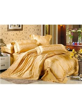 Luxury 4 Piece Silk Floss Bedding Sets with Golden Pattern